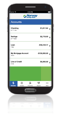 Mobile banking screen