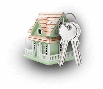 Photo of a keychain that looks like a little house