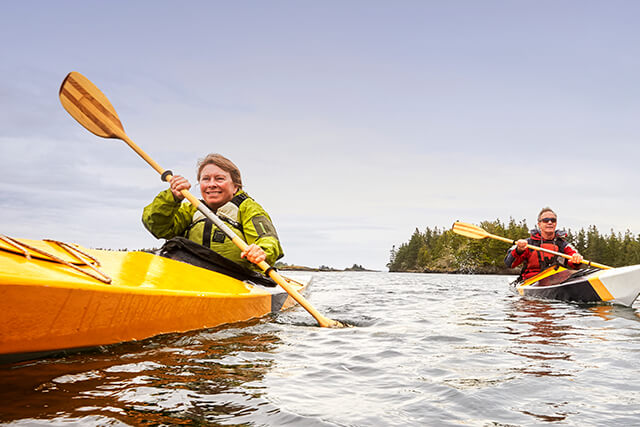 Photo of mature couple kayaking