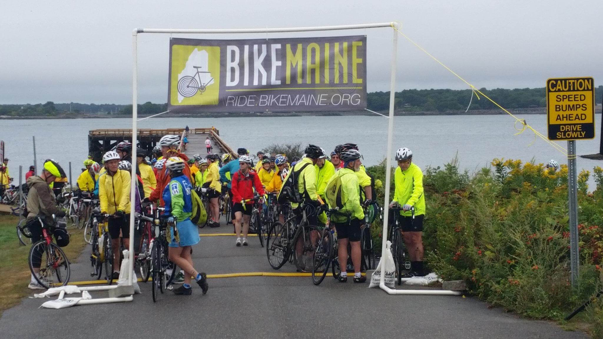 The Bike Maine starting line in Kittery