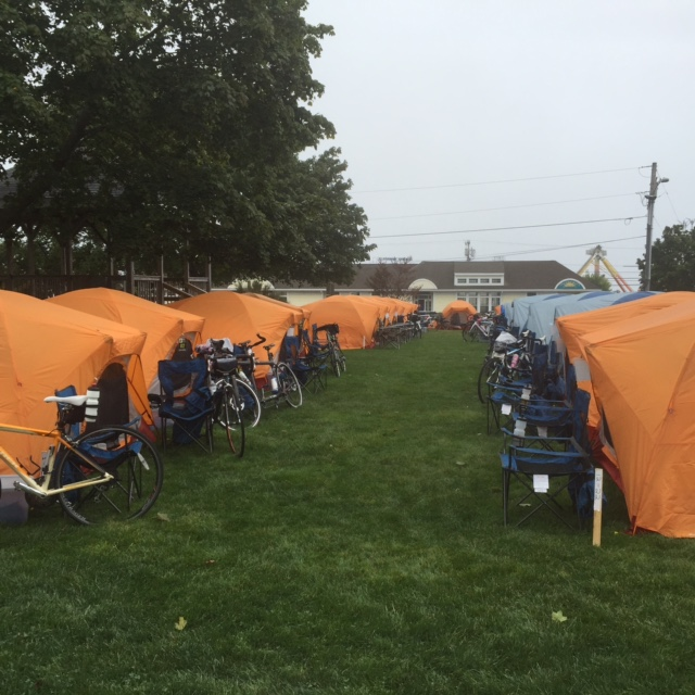 A view of the tent city where cyclists spend their nights.