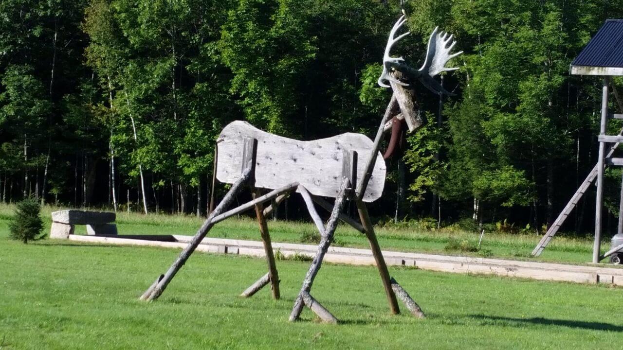 Wooden moose sculpture