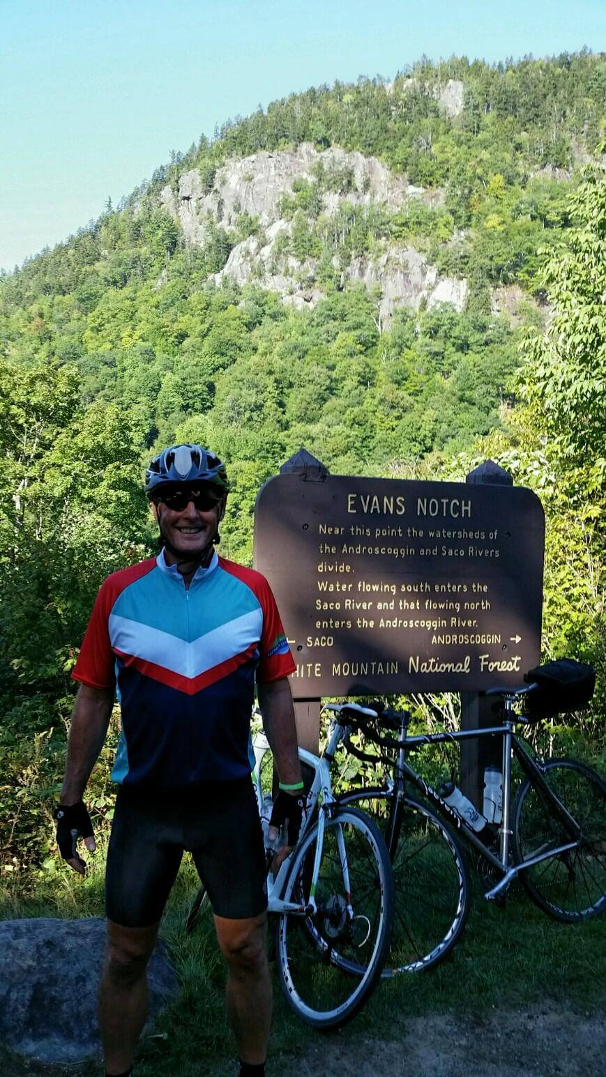 Barry and bike in Evans Notch