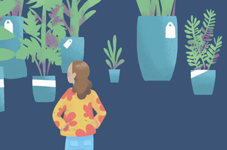 cartoon image of lady looking at plants