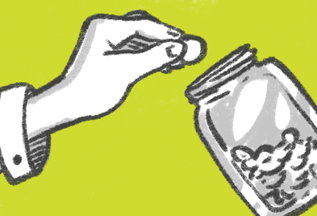 cartoon hand putting money in jar