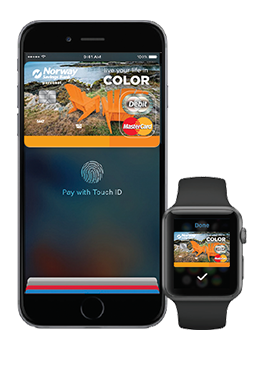 iPhone and Apple watch with NSB debit card on screen