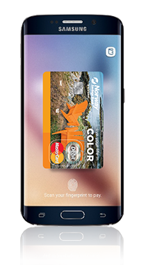 Mobile device with NSB debit card displaying on screen