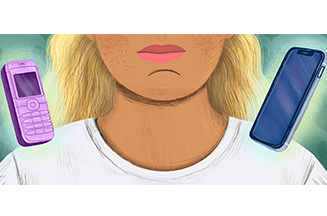 cartoon image with girl and mobile phones