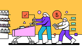 Cartoon of parent and child shopping